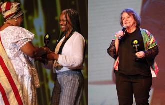 Olívia e Julieta recebem prêmio pela luta em defesa das mulheres